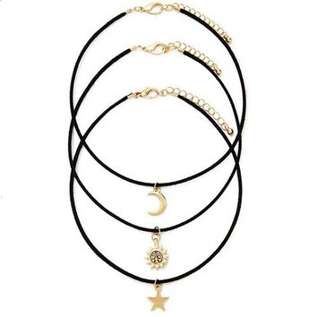 Star Moon and Sun Unisex Chokers Necklaces  3 Piece Set