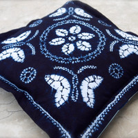 "Indigo blue pillow Navy tie dye cotton cushion Square 52cm 20""inch Dark shibori home decor Ethnic style homeward Butterfly Flower luxe Boho"