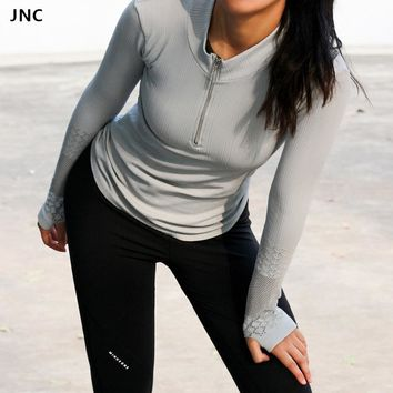 Cute Womens Long Sleeve Zip Front Running Yoga Sports Tops Workout Slay Top With Thumb Holes Outdoor Slims T-Shirt Fitness tops