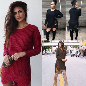 Womens Fashion Side Split Tassel knitting Long Sweaters For Female Fall Winter Sexy Long Sleeve Pullover Dress Sweater Knitwear