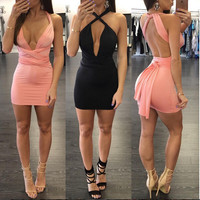 2016 Women Sexy Bodycon Dresses Halter Deep V Neck Backless Bandage Dress Women Night Club Wear Bandage Party Dresses