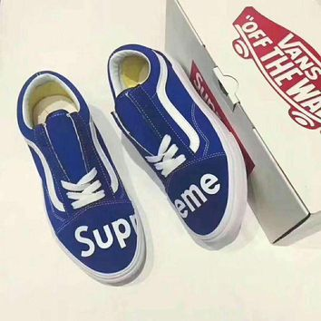Supreme x Vans Classic Canvas Skateboarding Running Shoes Blue I-HAOXIE-ADXJ