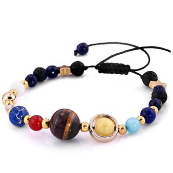 Women & Men Gift Solar System Eight Planets Of The Universe Galaxy Guardian Star Natural Stone Beads Bracelet Bangle