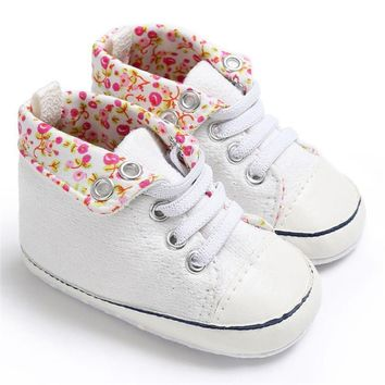 Abacaxi Kids Baby Girl Lace-Up Floral Shoes Prewalkers First Walkers
