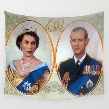 Queen Elizabeth 11 & Prince Philip in 1952 Wall Tapestry by Chris' Landscape Images & Designs