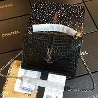 YSL High Quality Fashionable Women Leather Metal Chain Shoulder Bag Crossbody Satchel Black