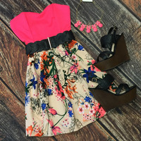 Summer Fling Print Dress: Pink