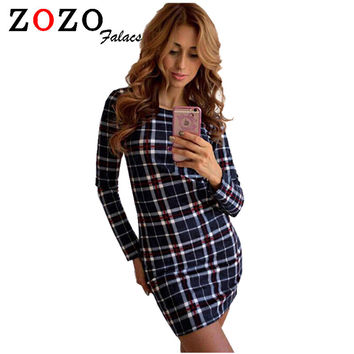 Falacs zozo 2016 autumn and winter fashion trend plaid package hip self-cultivation dress