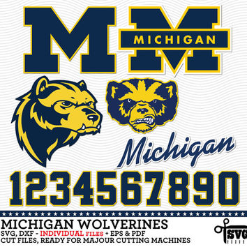 Michigan Wolverines Logos, Jersey Numbers. Individual Digital Cut Files. SVG, dxf, eps, pdf for Silhouette, Cricut vinyl Die Cutting CF-108