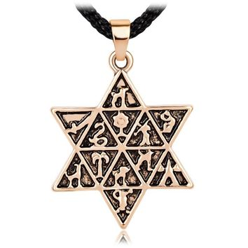 Vintage Antique Jewish Star Of David Charm 12 Tribes Of Israel Pendant Necklace