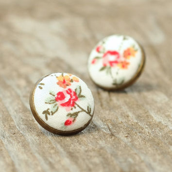 Flower Stud Earrings, Rose Earring Studs, Fabric Covered Button Jewelry