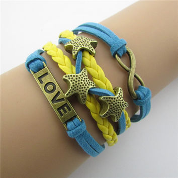 LOVE Starfish Colorful Leather Bracelet