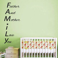 Family Wall Decals Baby Quote Father And Mother I Love You Phrase Words Home Vinyl Decal Sticker Girl Boy Kids Nursery Baby Room Decor kk810