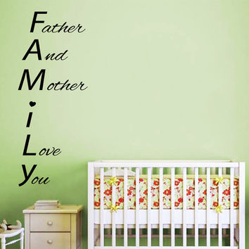 Family Wall Decals Baby Quote Father And From Decalmyhappyshop On