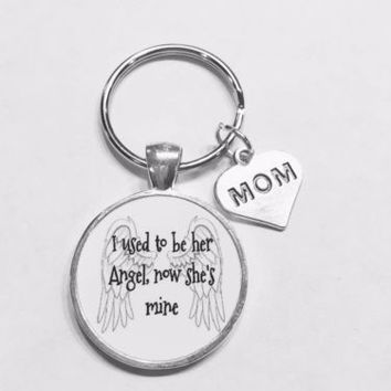 Mom I Used To Be Her Angel Now She's Mine In Heaven Guardian Angel Keychain