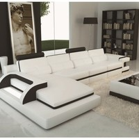 Luxury Polaris - White And Black Contemporary Leather Sectional Sofa With Light