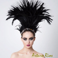 Couture Feathered Headpiece, Beaded Hat, Fascinator