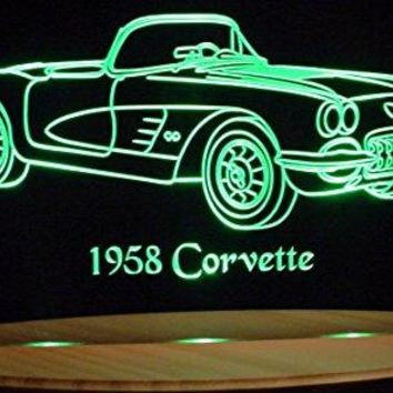 "1958 Corvette Convertible Acrylic Lighted Edge Lit 13"" LED Sign / Light Up Plaque 58 VVD1 Full Size USA Original"