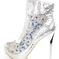 Silver Rhinestone Sequin Beaded High Heel Booties Faux Leather