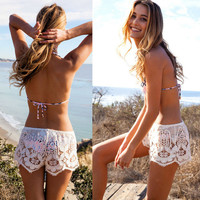 Lace Crochet Mini Shorts