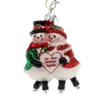 Noble Gems SNOWMAN COUPLE WITH HEART Glass First Christmas Nb1083