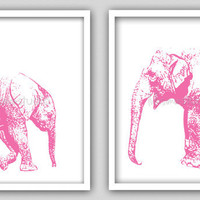 "Set of 2 - 8""x10"" Wall Decor Print, Modern Home Decor-Baby Elephant & Momma Elephant Print"