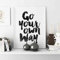 "Dorm Art Dorm Prints Dorm Print Printable Art ""Go Your Own Way"" Wall Print Gallery Wall Prints Arrow Prints Arrow Art Arrow Decor Dorm Decor"