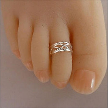 Silver Plated Zinc Alloy Adjustable Size Finger Rings Toe Ring For Women SM6