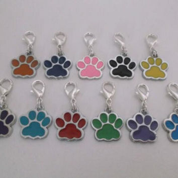 Vintage Silvers Mixed Enamel Cat Dog Paw Prints Footprint Clip Charms Pendant For Jewelry Making  Bracelets Craft 50pcs HOT S605