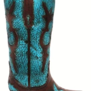 Cowgirl Kim Distressed Turquoise Cowboy Boot Vase