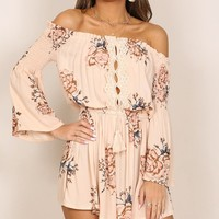Femme Flourish playsuit in beige floral Produced By SHOWPO