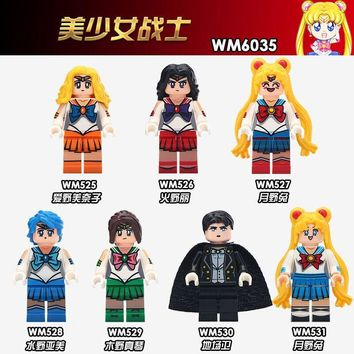 Cartoon Sailor Moon Legoing Super Heroes Figures Blocks Toys Night Dress Mask Sailor Jupiter Mercury Mars Venus Legoings Friends