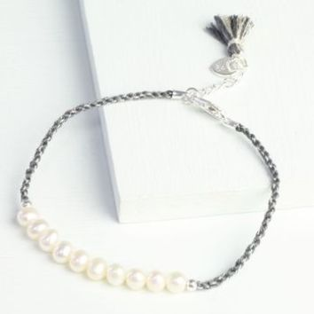 Twisted Cord And Pearl Bracelet