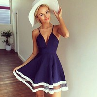 Aliexpress.com : Buy 2015 Robe Femme Cute Dresses Cheap Clothing China Sexy Deep V Neck Mesh Chiffon Stitching Short Navy Blue Women Beach Dress ZDD from Reliable d payment suppliers on Love. Angel | Alibaba Group