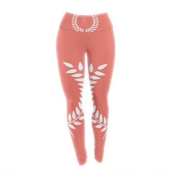 "KESS Original ""Coral Wreath Monogram"" Yoga Leggings"
