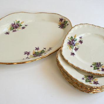 Grindley sandwich set - Cream Petal cake plates with larger serving plate - Violets pattern with gold edge - English china vintage 1950s