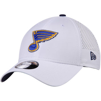 Men's St. Louis Blues New Era White Perforated Pivot 9FORTY Adjustable Hat