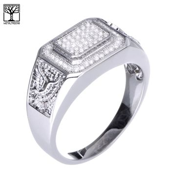 Jewelry Kay style Men's Iced Out 14k Gold Plated CZ Band Caved Double Rectangular Eagle Pinky Ring