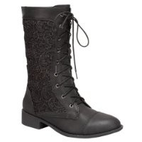 Top Moda LA-30 Women's Lace Up Mid-Calf Combat Boots, Color:BLACK, Size:7
