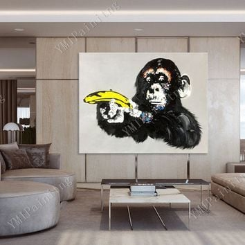 Pop Art Ape paintings On Canvas original art painting black monkey art graffiti Wall Pictures abstract animals painting cuadros abstractos