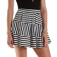 Black Combo Tiered Stripe Skater Skirt by Charlotte Russe