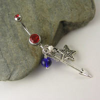 Fourth of July Belly Ring ~ Belly Button Navel Ring Red White Blue Star Arrow Patriotic July 4th Body Piercing Jewelry Crystal Beaded Dangle