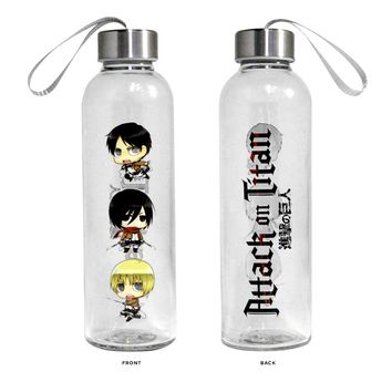 20oz Attack on Titan OFFICIAL Sports and Fitness Training PREMIUM Glass Water Bottle with Eren, Mikasa and Armin