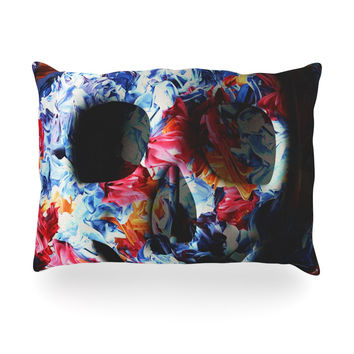"Danny Ivan ""Skull Light"" Blue Pink Oblong Pillow"