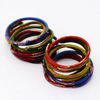 Assorted Stacking Rings, Handpainted Copper Stacked Rings, Distressed, Set Of 12, Multicolor Stackackable Ring Set