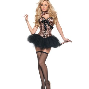 Leopard printing corsets Sexy Feral Charm Leopard Deluxe shapers Animal Costume with Tutu Skirt