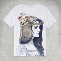 Lana Del Rey Tattoo White T-Shirt Size S M L XL