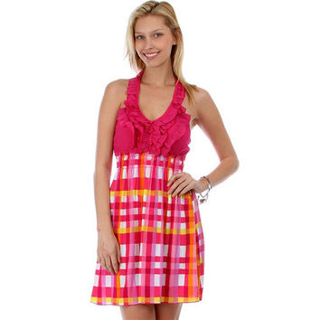 Halter Dress With Ruffle Trim