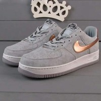 Nike Air Force 1 Jade AF1 Women Men Running Sport Casual Shoes Sneakers Air force Grey-golden hook H-JJ-MYZDL