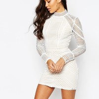 Missguided Panel Lace Bodycon Mini Dress at asos.com